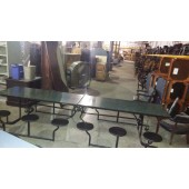 Twelve Seat Green Laminate Marble Cafeteria Table