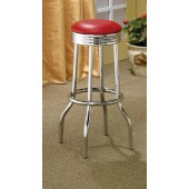 Cleveland Collection Chrome Plated Soda Fountain Bar Stool 2299R Red