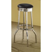 Cleveland Collection Chrome Plated Soda Fountain Bar Stool 2408 Black