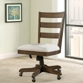 Wood Back Upholstered Desk Chair Perspectives Collection - Brushed Acacia Finish