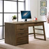 Single pedestal desk, brushed Acacia finish #28030