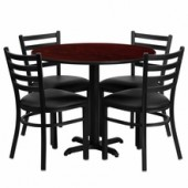 "Round 36"" Mahogany Laminate Table and Metal Restaurant Chair Set"