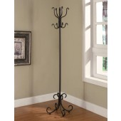 Black Metal Coat Rack with Curved Feet
