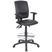 Boss High Back Drafting Chair with Arms in LeatherPLUS B1646
