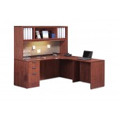 Isaac Rogers PL#24 Performance Laminate L-shape Desk with Hutch