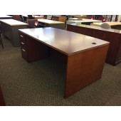 Single Pedestal  Bowfront Desk in Mahogany