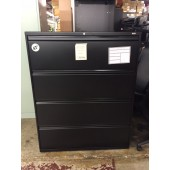 Alera 42 Inch Four Drawer Black Lateral File Cabinet