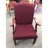 Mahogany Side Chair with Burgundy Fabric
