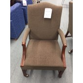 Olive Fabric Side Chairs on Casters