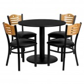 "Round 36"" Black Laminate Table Set W/4 Chairs"