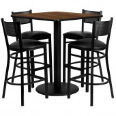 Square 36'' Bar Height Table Set W/ 4 Grid Back Metal Bar Stools