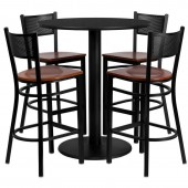 "Round 36"" Black Laminate Bar Height Table W/4 Bar Stools"