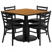 "Square 36"" Natural Laminate Table W/4 Chairs"