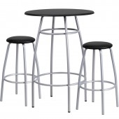 "Round 30"" Bar Height Silver/Black Top Table W/2 Stools"