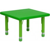 "24"" Square Height Adjustable Green Plastic Activity Table"